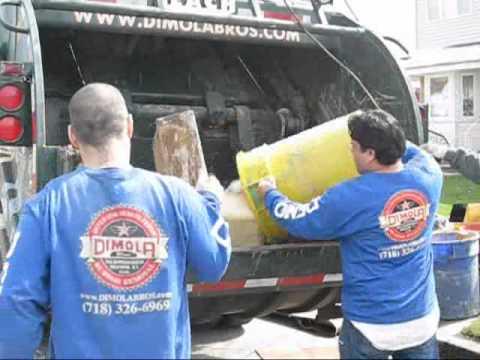 Video of Dimola Bros Garbage Crushing. Brooklyn Rubbish Removal Company 718-326-6969 NYC
