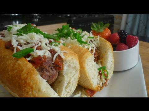 Baked Meatball Sub with a side of Fresh Berries