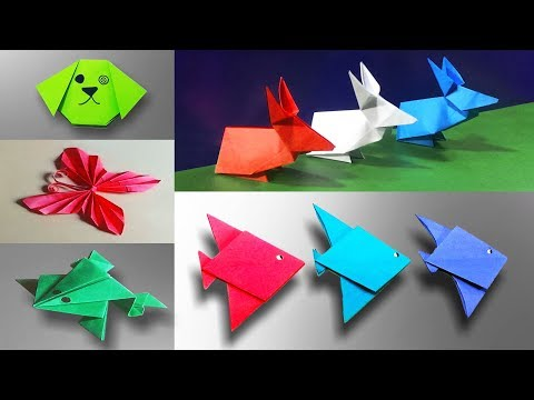 Top 5 Easy Origami For Kids | Jumping Frog | Dog | Rabbit | Fish | Butterfly