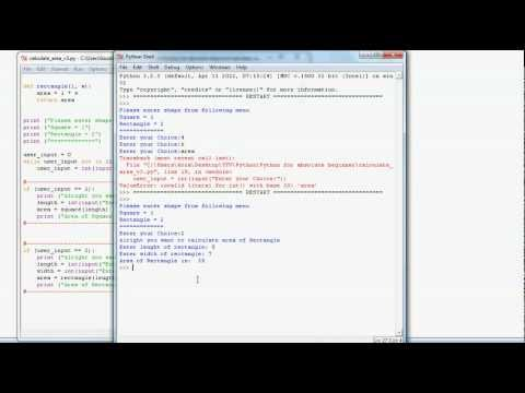 Python programming - how to calculate area of shapes