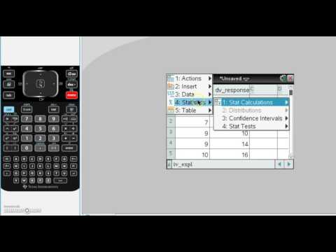 Using t.i nspire to find summary statistics for two variables