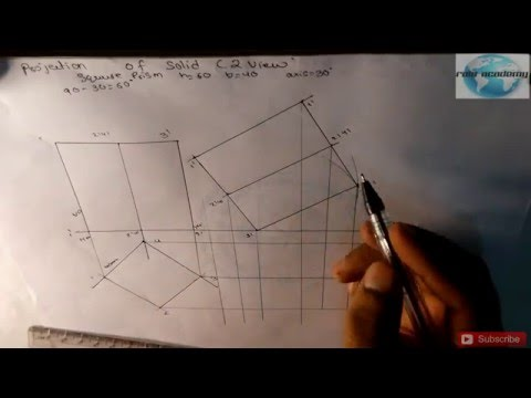[hindi] projection of solid:square prism (2 view)