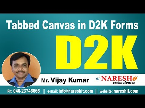 Tabbed Canvas in D2K | D2K Forms and Reports Tutorial | Mr. Vijay Kumar