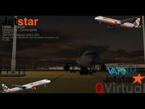 VATSIM FSX Melbourne to Coolangatta Jetstar 440 Aerosoft A321-231