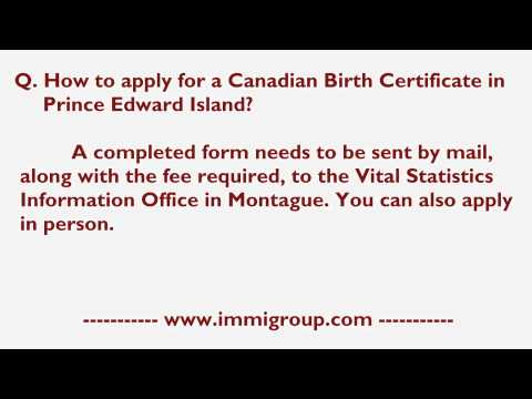 How To Apply For A Canadian Birth Certificate In Prince Edward Island?