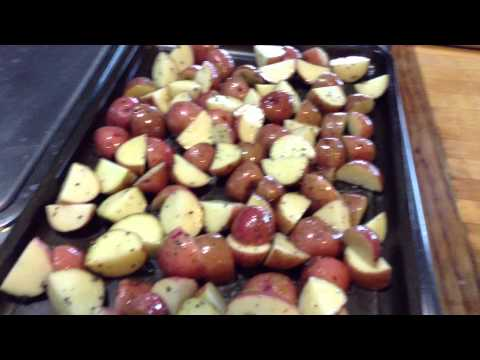Quick and easy roasted chicken thighs and red potatoes