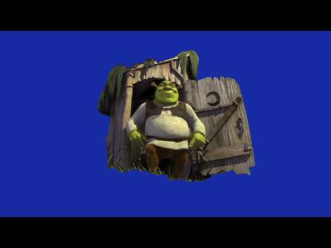 Shrek Bursts Out Of His Outhouse (Blue Screen Chroma Key Effect)