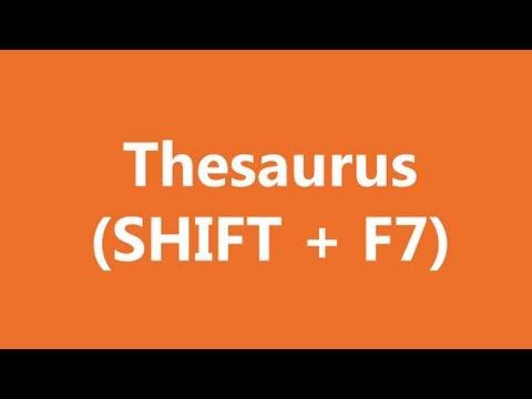 Excel Shortcuts - Thesaurus