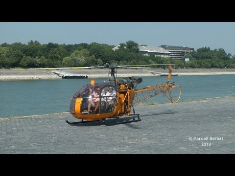 Aerospatiale SA-318C Alouette II Full Startup and Takeoff from Dráva Heliport