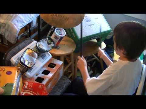 Me on my own cardboard drum kit