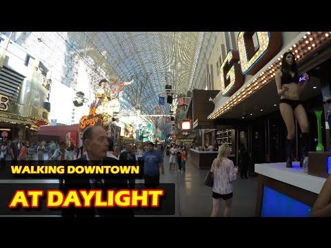 Walking in Downtown Las Vegas at daylight - Fremont Street Experience in 4K HD