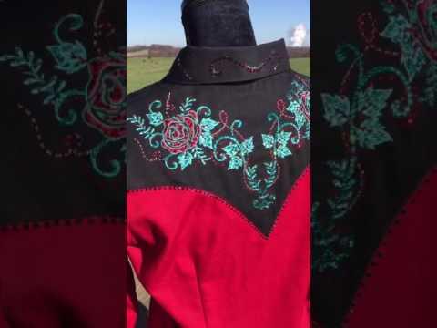 Red Panhandle Slim Western Shirt Embellished with Swarovski Crystals