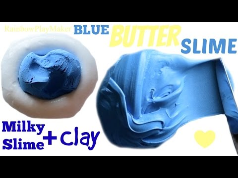 DIY Blue BUTTER SLIME CLAY MIXING!!! Easy & Fun! Best Texture.