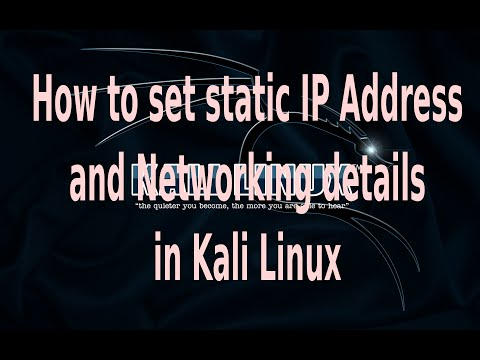 How to set static ip address and networking details in Kali Linux