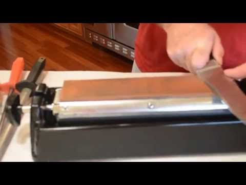 How to sharpen a knife like a butcher, using an oil stone.