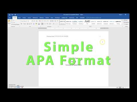 APA Header, Title Page and References setup in Word 2016