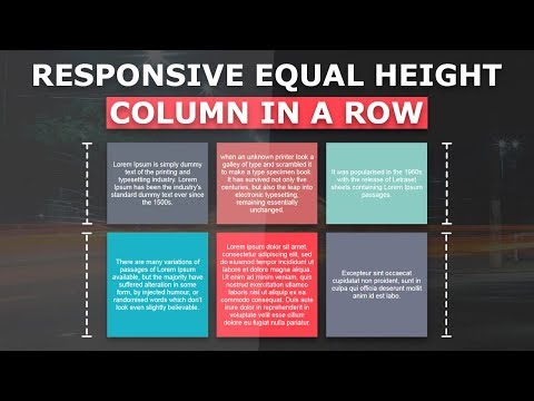 Equal Height Columns In Row - How to Create Equal Height and Width Columns  - Pure Html CSS Tutorial