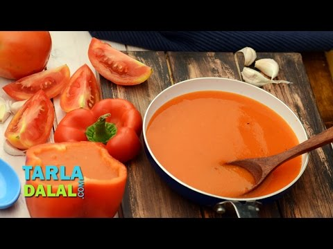 भुना हुआ शिमला मिर्च का सूप (Roasted Capsicum Soup) by Tarla Dalal
