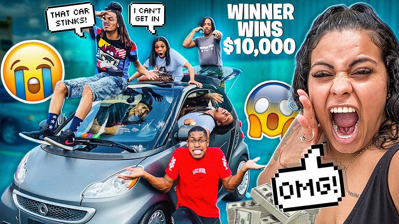Last To Leave TINY SMART CAR Wins $10,000 (MUST WATCH) 😱
