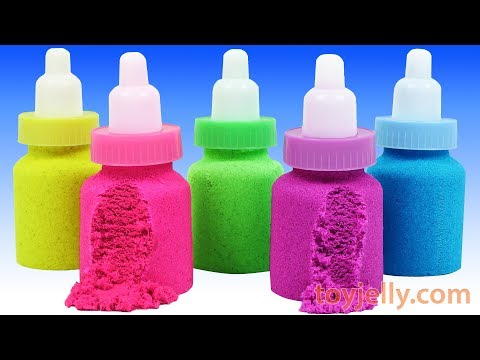 How to Make DIY Making Kinetic Sand Baby Milk Bottle Learn Colors Baby Songs Pokemon Surprise Eggs