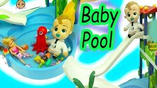 The Boss Baby Swims & Slides In Pool with Splashlings Mermaid Dolls + Barbie Kid