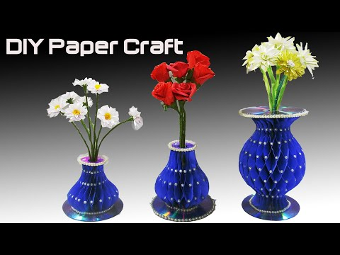 how to make easy paper vase| Honeycomb styled flower vase