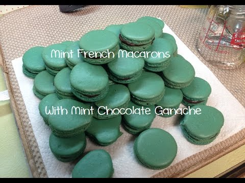Mint French Macarons with Mint Chocolate Ganache