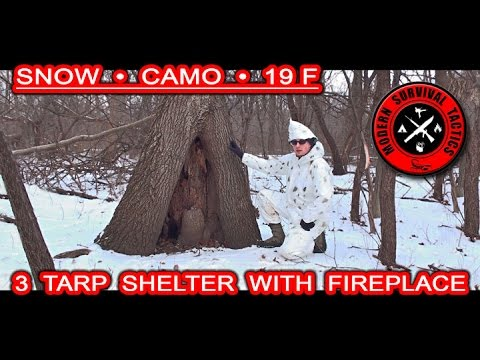 3 tarp winter shelter with a fireplace / SNOW AND CAMO
