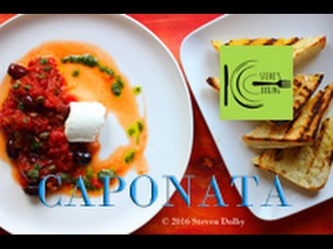 Caponata with Smoky Eggplant and Goat cheese on Crusty Bread | stevescooking