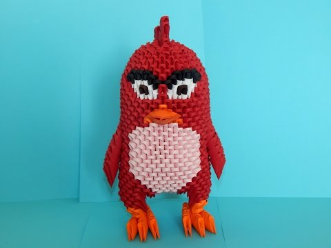 How to make 3d origami Angry Bird Red part 1
