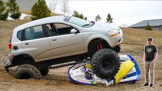 Monster Car runs over Jet Ski!! (Testing our new mud truck)