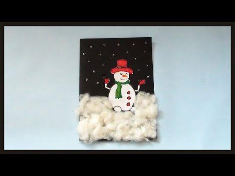 DIY Snowman Greeting Card Making | Simple & Easy Christmas Gift Ideas