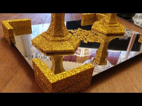 Elegant Mirrored Display Tray| using Dollar Tree Items| Vanity Display Tray DIY