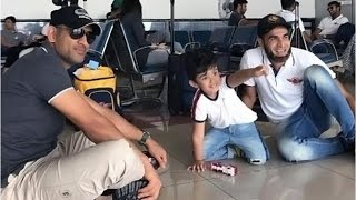 IPL 2017: Ms Dhoni Plays With Imran Tahirs Son As He Sit On The Floor At Airport