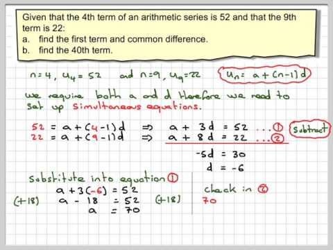 Finding the first term and common difference of an arithmetic sequence