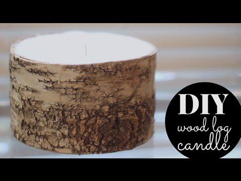 DIY Wood Log Winter Candle | Cinnamon & Sandalwood!