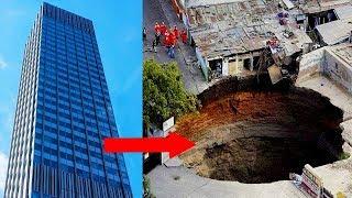 वो गड्ढा जो पूरी ईमारत खा गया   Sinkholes Caught Swallowing Things On An EPIC Scale