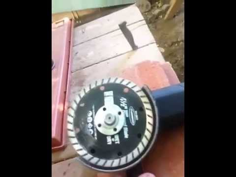 Paver cutting using a Angle Grinder, & a Diamond Cutting Wheel from Harbor Freight.