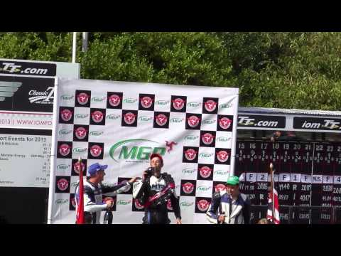 Andy Lawson on the podium Manx GP 2013