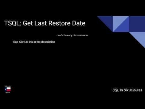 TSQL: Get Last Restore Date