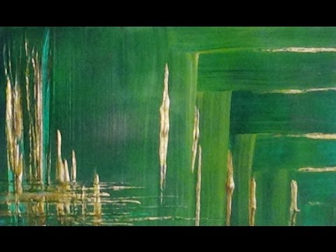 Background - Green and Gold Acrylic Paint