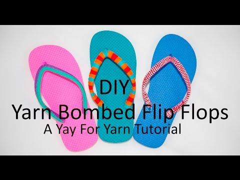4c507e9eb DIY Yarn Bombed Flip Flops - 3 Different Styles   Yay For Yarn