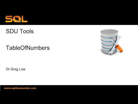 SDU Tools 64 Table of Numbers in SQL Server T-SQL