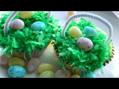 Easter Basket Cupcakes - Easy Easter Dessert you can make with Kids!