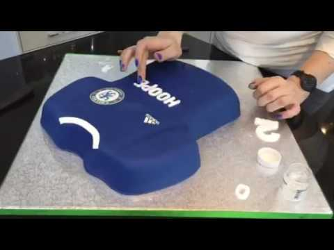 How to make a Chelsea football shirt Cake