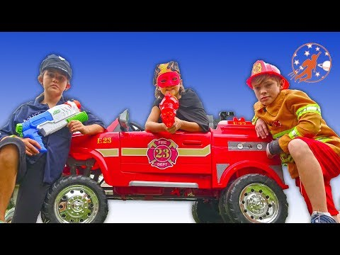 Little Heroes Fire Engines, Kid Cops and Police Cars - New Sky Kids Super Episode