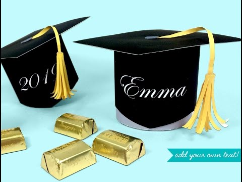 make a graduation cap favor and candy box printable kit