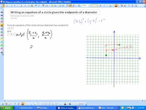 Writing an equation of a circle given the endpoints of a diameter.wmv