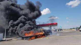 Massive Truck Fire PART 2 at Petro Canada Gas Station Bowfort Rd Calgary
