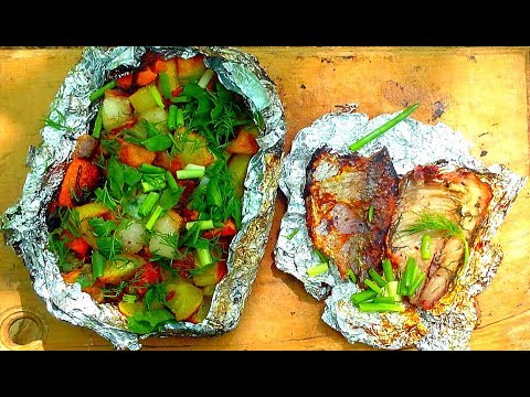 The food in the forest. Bake the fish and potatoes in foil.